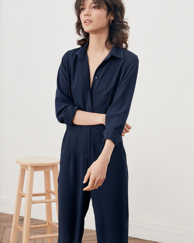 Loose shirt jumpsuit NAVY
