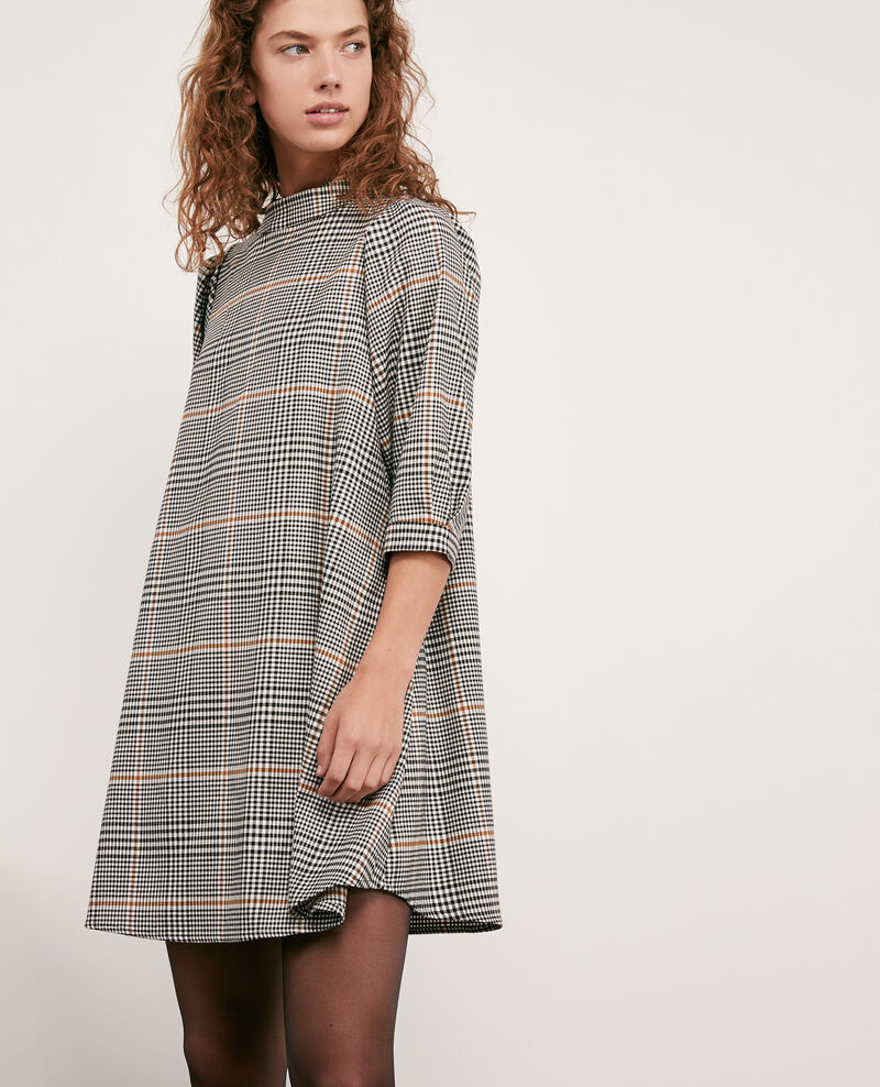 Herringbone print dress Kensington black Dakota