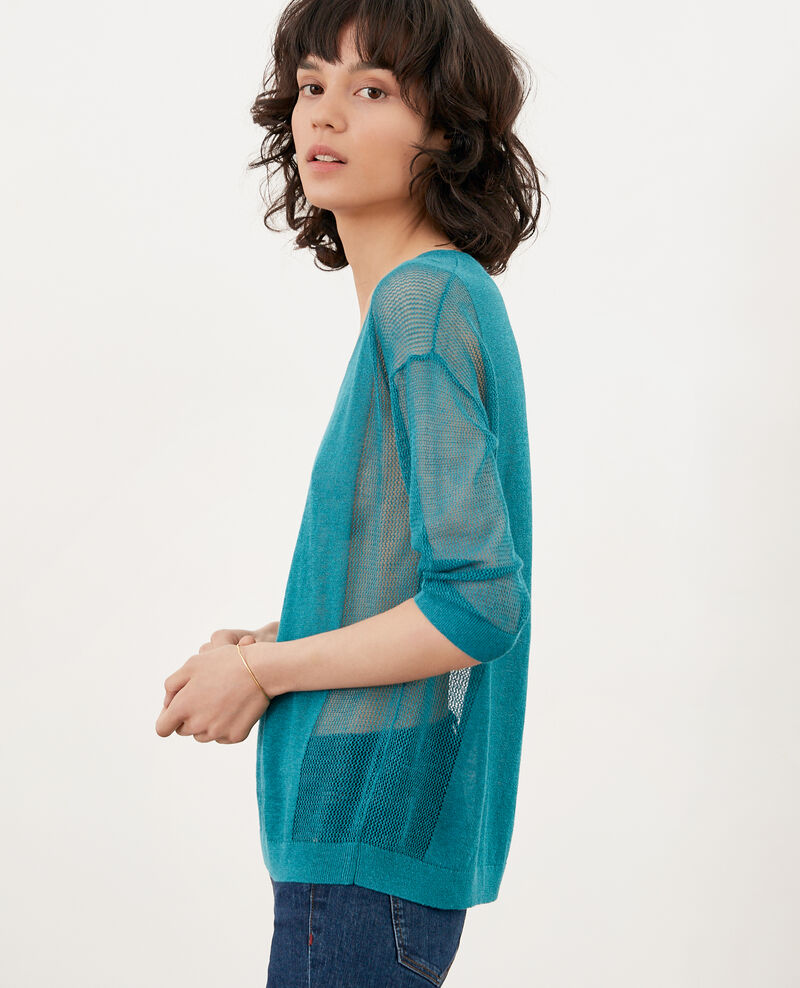 Jumper with open knit details PACIFIC GREEN