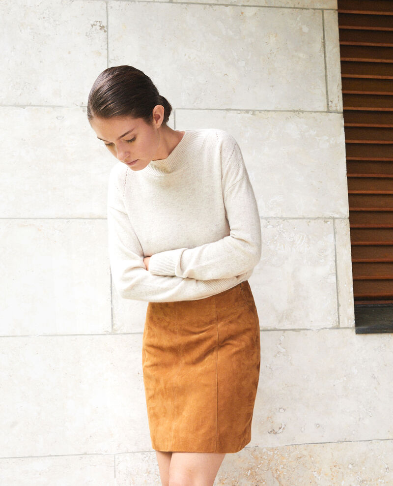 Suede pencil skirt GOLDEN BROWN