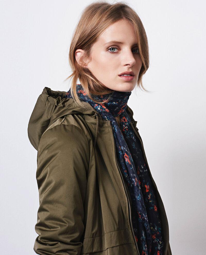 Long, light bomber jacket-style parka with detachable hood Black olive Chapeau