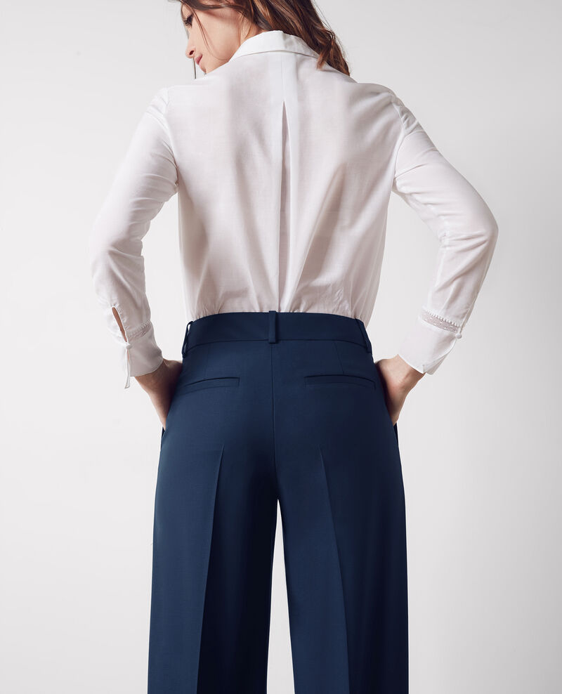 Wood wide-leg office trousers Midnight blue Crimee