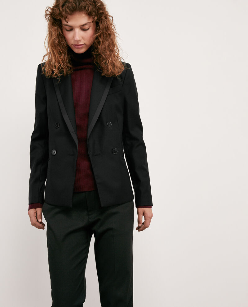 Double-breasted wool blazer Noir Dolution