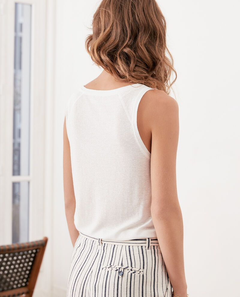 Shimmering linen blend vest Off white Fofie