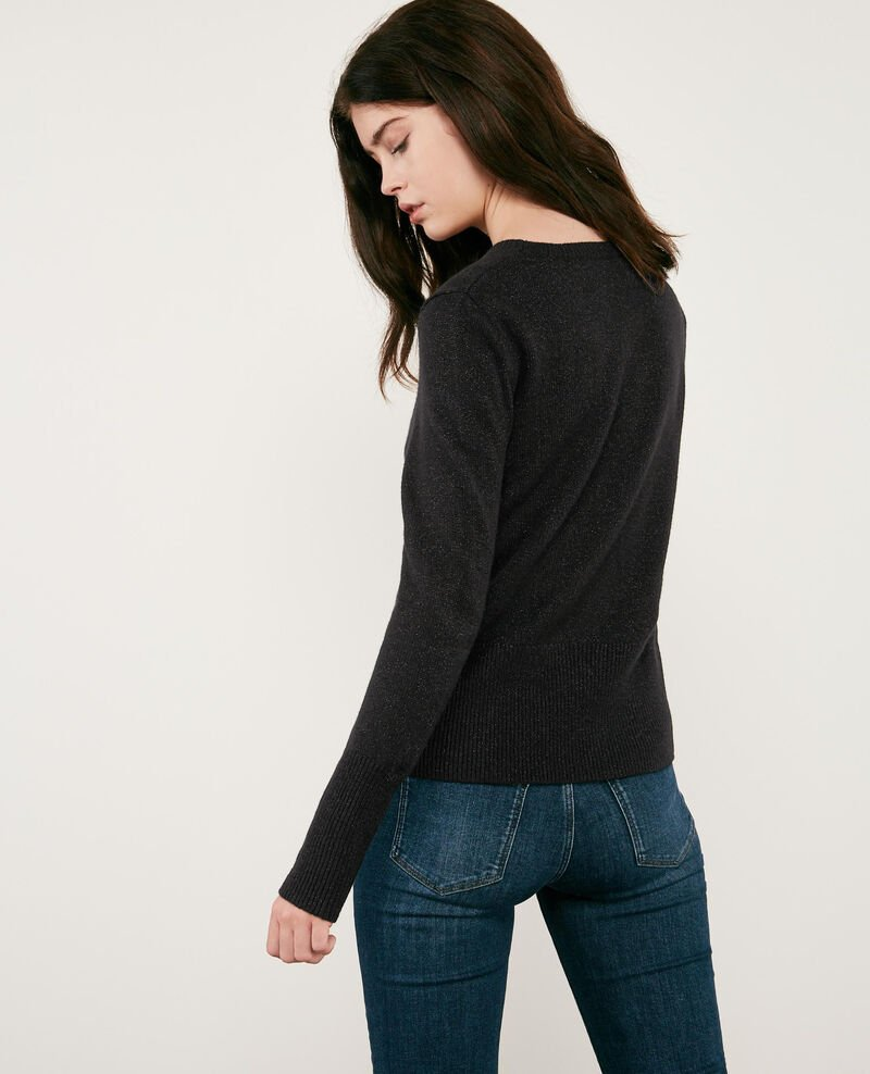 Shimmering wool and lurex jumper Noir Doupida