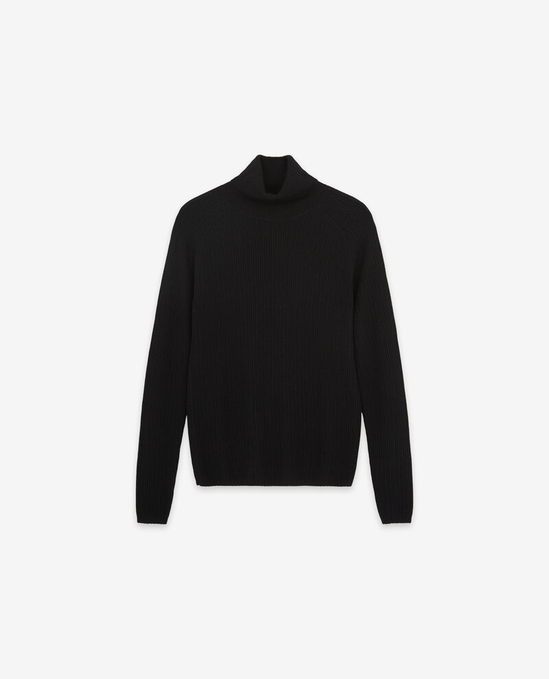 100% merino roll neck jumper Noir Dexter