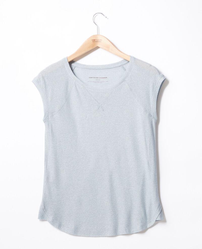 Iridescent T-shirt with linen Azur Falexia