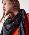 Printed square scarf in modal fabric Bouquet leaves dark navy Callas