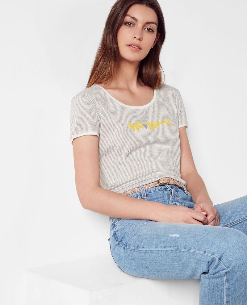 """Poli♥ssonne"" Breton t-shirt Gris chine Chamois"