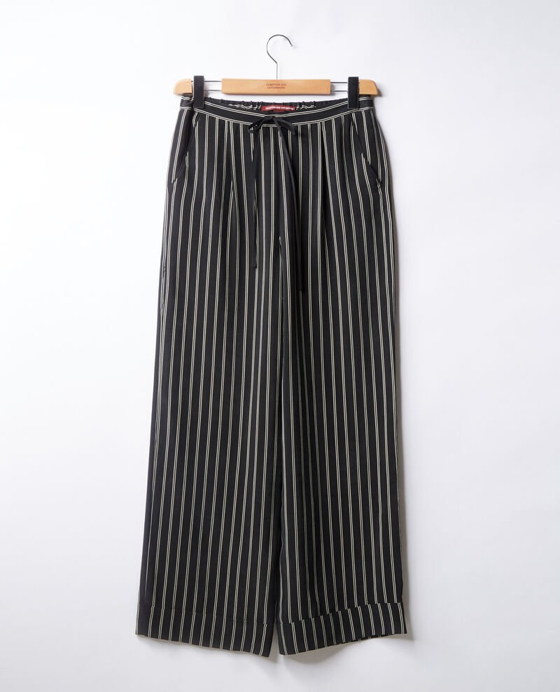 Loose flowing striped trousers Black/off white stripes Frimee
