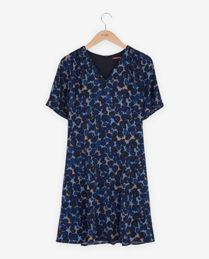 V neck dress Blossom shadow indigo Fositive
