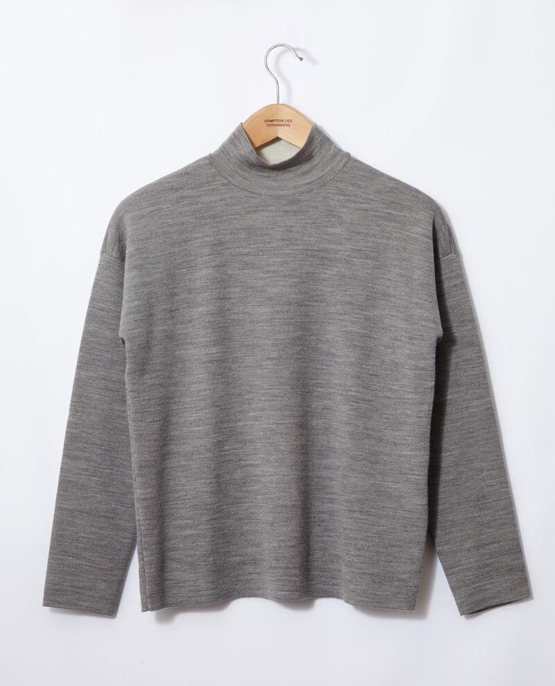 Double-sided merino wool jumper Light heather grey/off white Gibbon