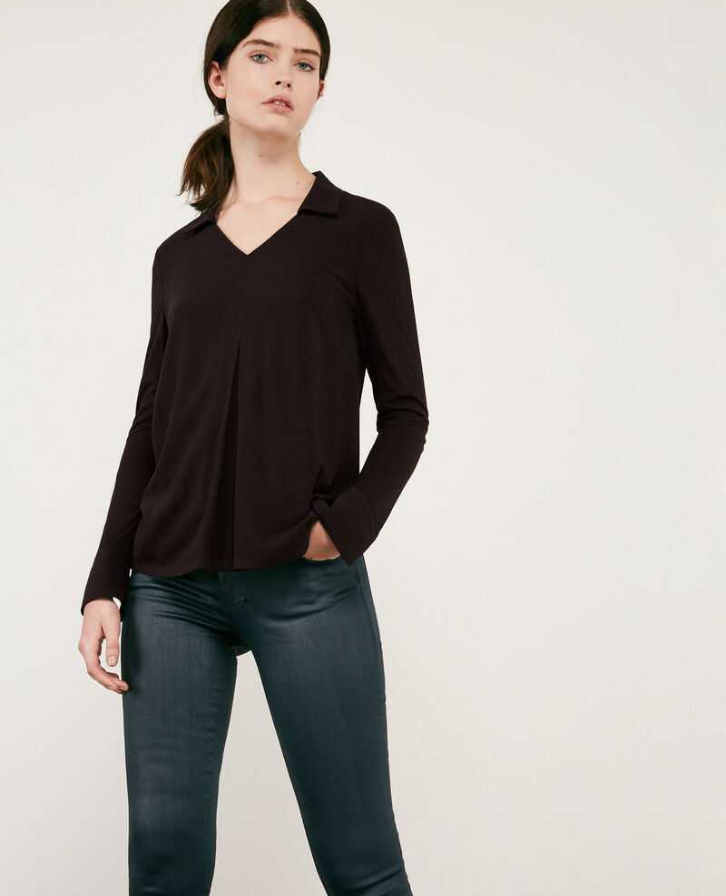 Jersey and crêpe shirt Noir 9capados