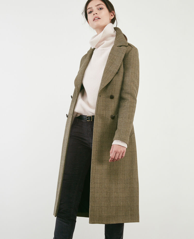 Herringbone long coat Chamois Duplexe