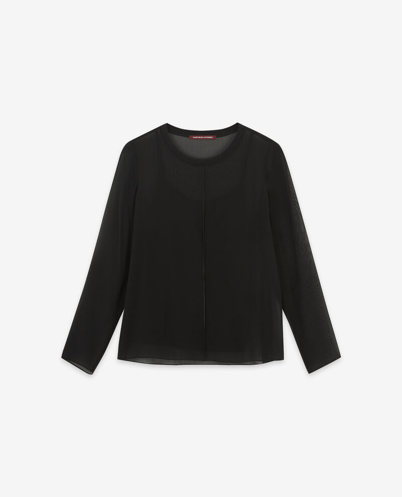 Long-sleeved silk t-shirt Noir Dalpestre