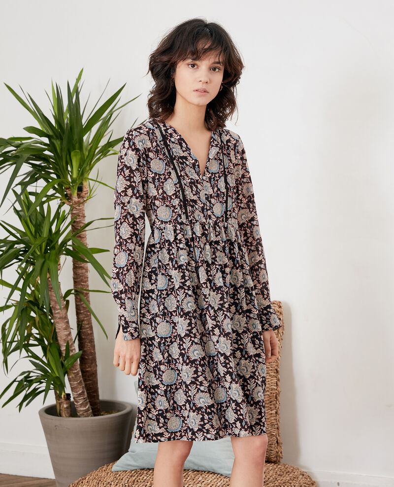 Printed silk dress Darjeeling black Fedora
