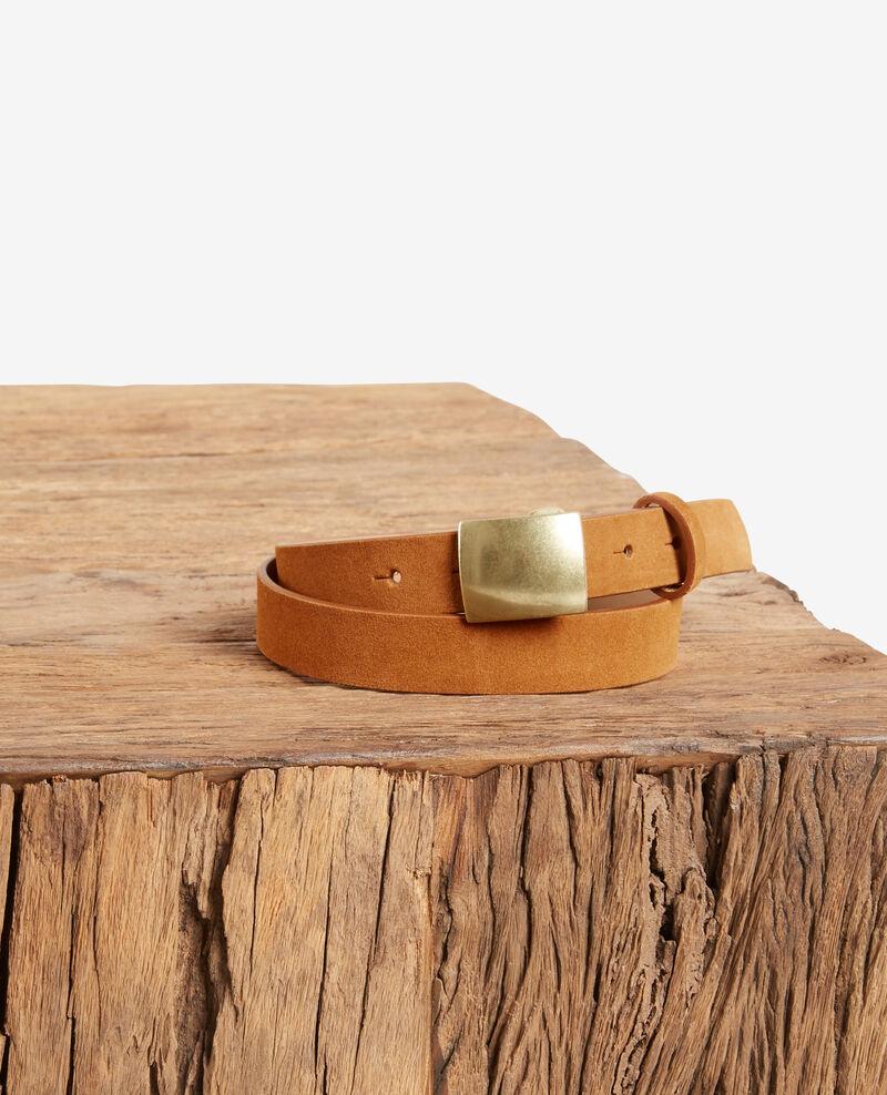 Split leather belt COGNAC