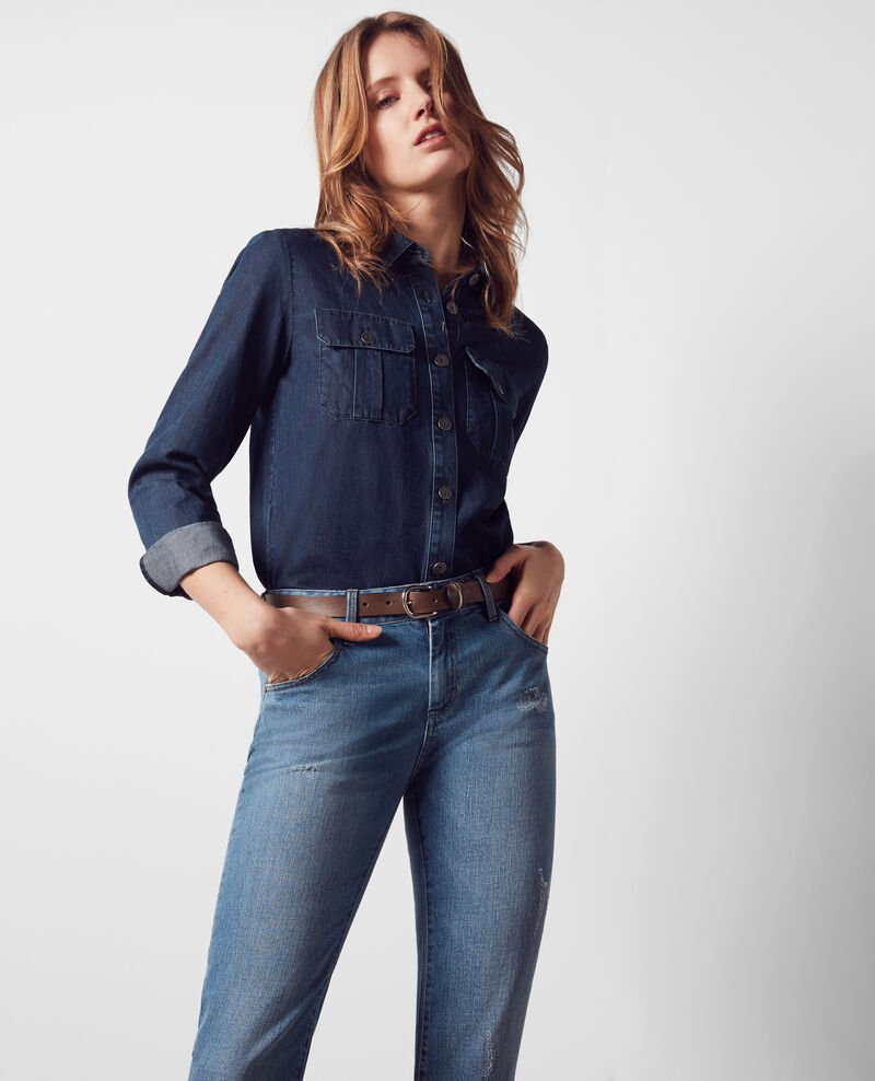 """Garçon manqué"" boyfriend jeans with fringing Bleach blue Cristobal"