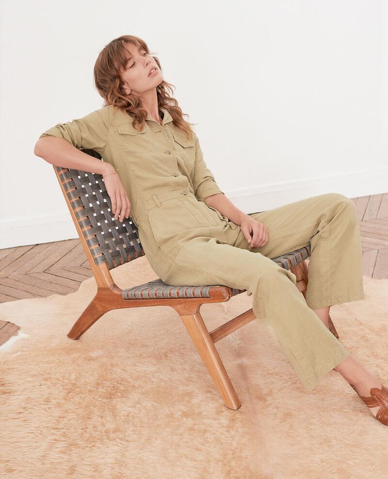 Safari-style jumpsuit with linen Mastic Fruit