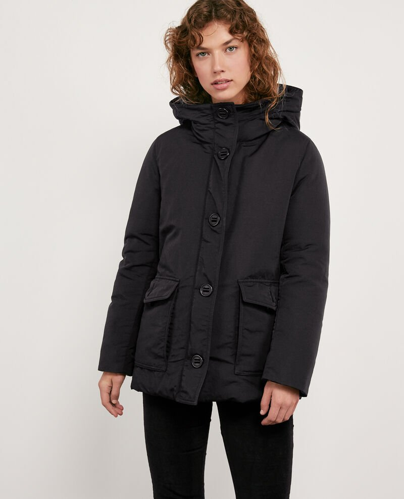 Down jacket with removable faux fur trim Noir Dasual