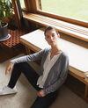 Trompe-l'œil cardigan-blouse Light grey/off white Gapristi