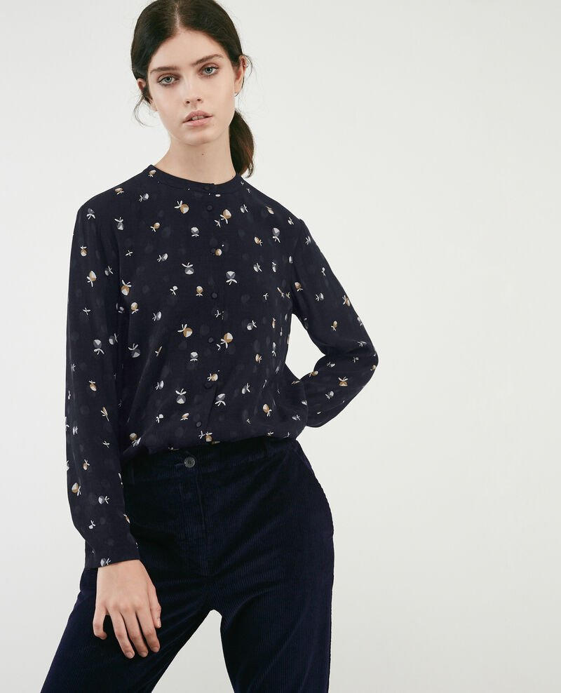 Printed shirt Pinecones dark navy Davocat