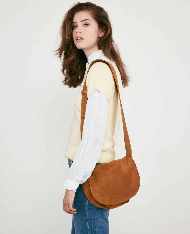 Leather blend saddle bag Cognac Dedans