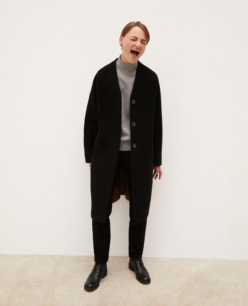 Collarless coat Noir Gilhard