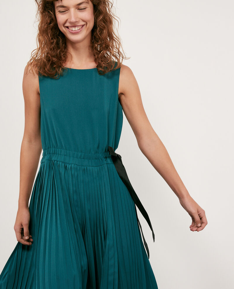 Dress with pleated skirt Light deep green Dosoleil