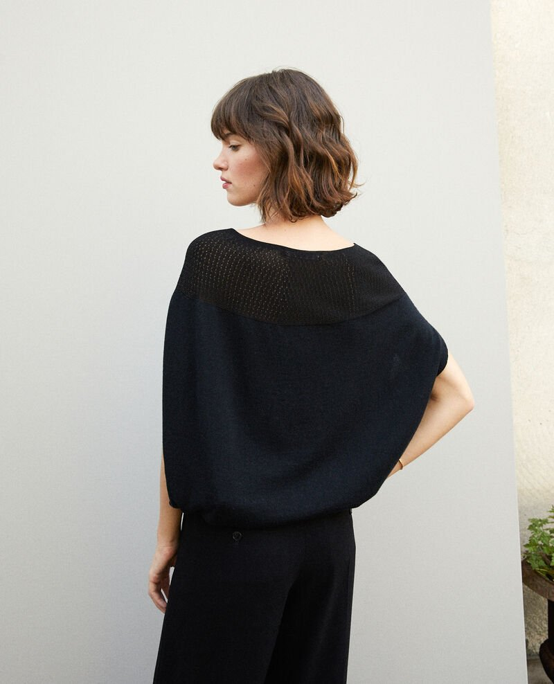 Bubble-shaped whole garment jumper Noir Gelsa