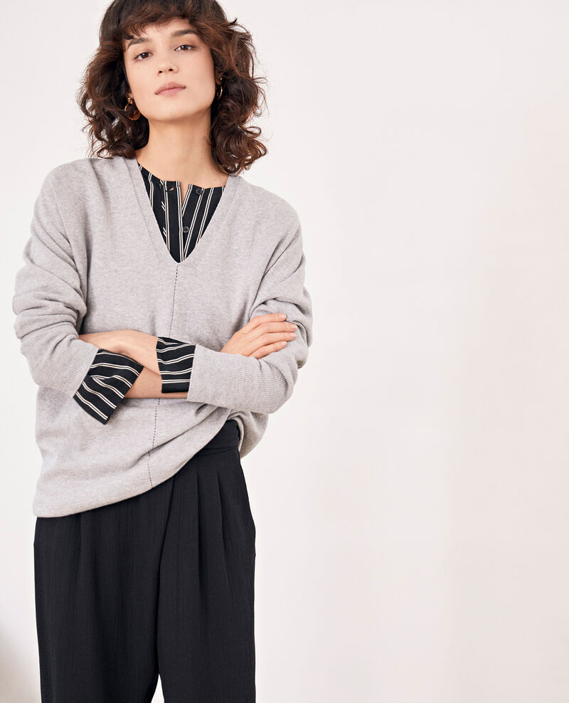 Jumper with 3/4 sleeves LIGHT GREY