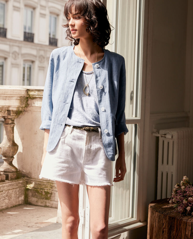 Linen vest top Washed blue Fagou