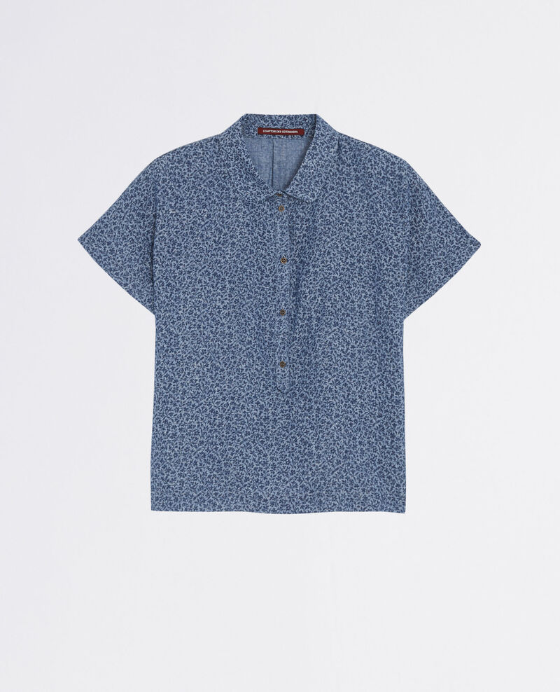 Linen print shirt Linen meadow indigo Cauliflower