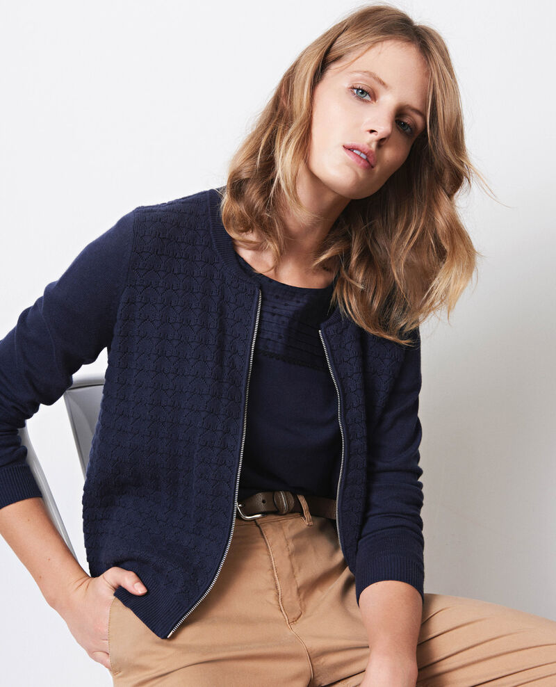 Zip-up cardigan with cashmere Twilight Coquin