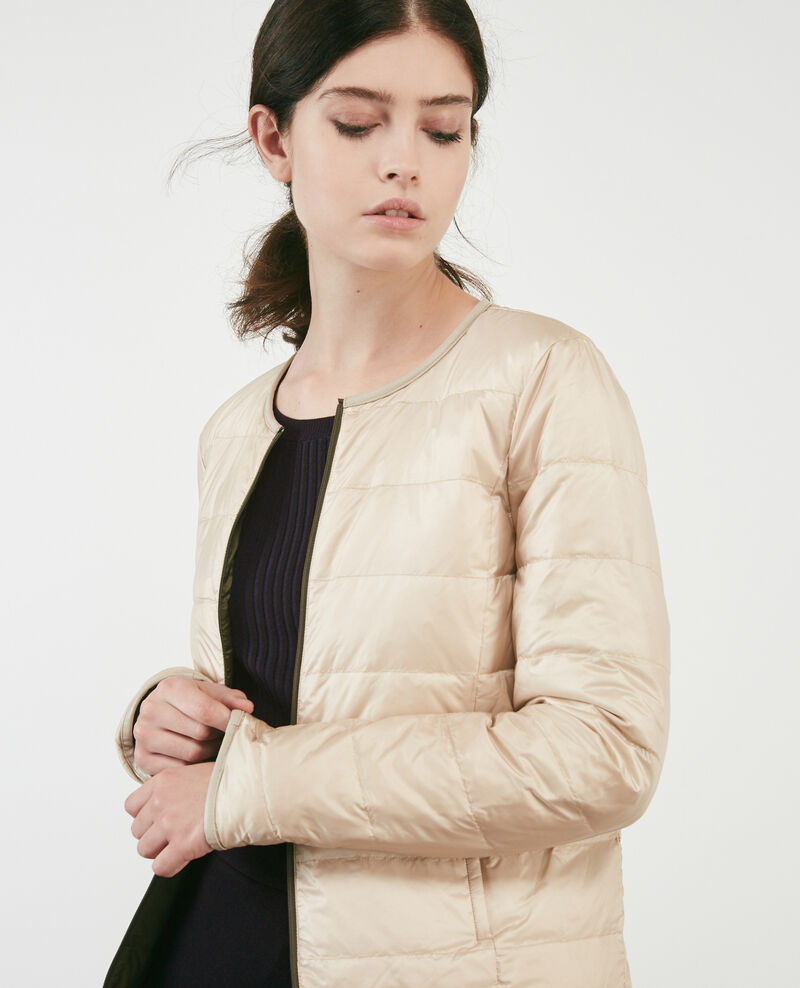 Pocketable reversible puffer jacket Black olive/linen Calao