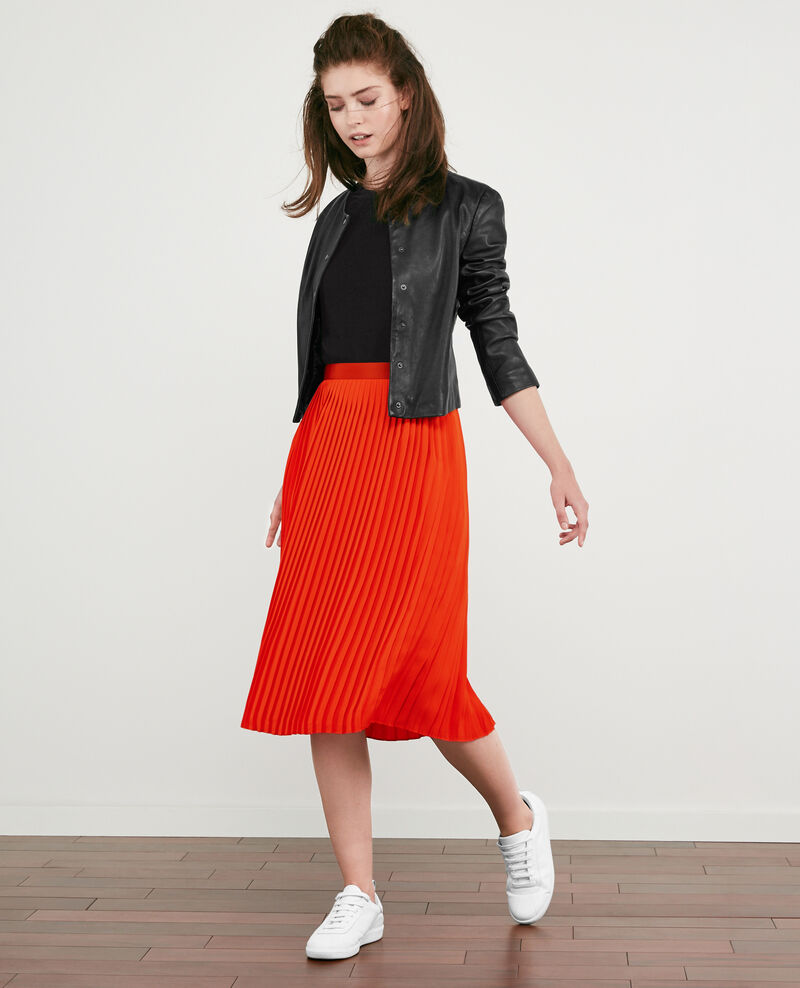 Pleated skirt Orange red Dallerine