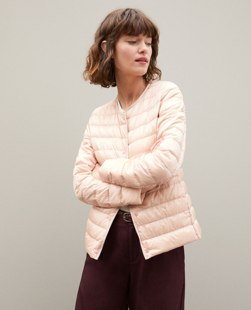 Ultra-light padded jacket with round collar LIGHT PINK