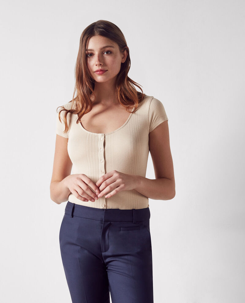 Ribbed buttoned t-shirt Lin Cypres