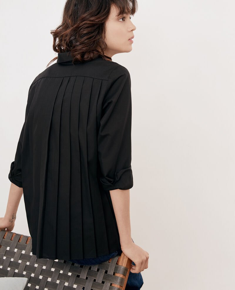 Shirt with pleated back NOIR