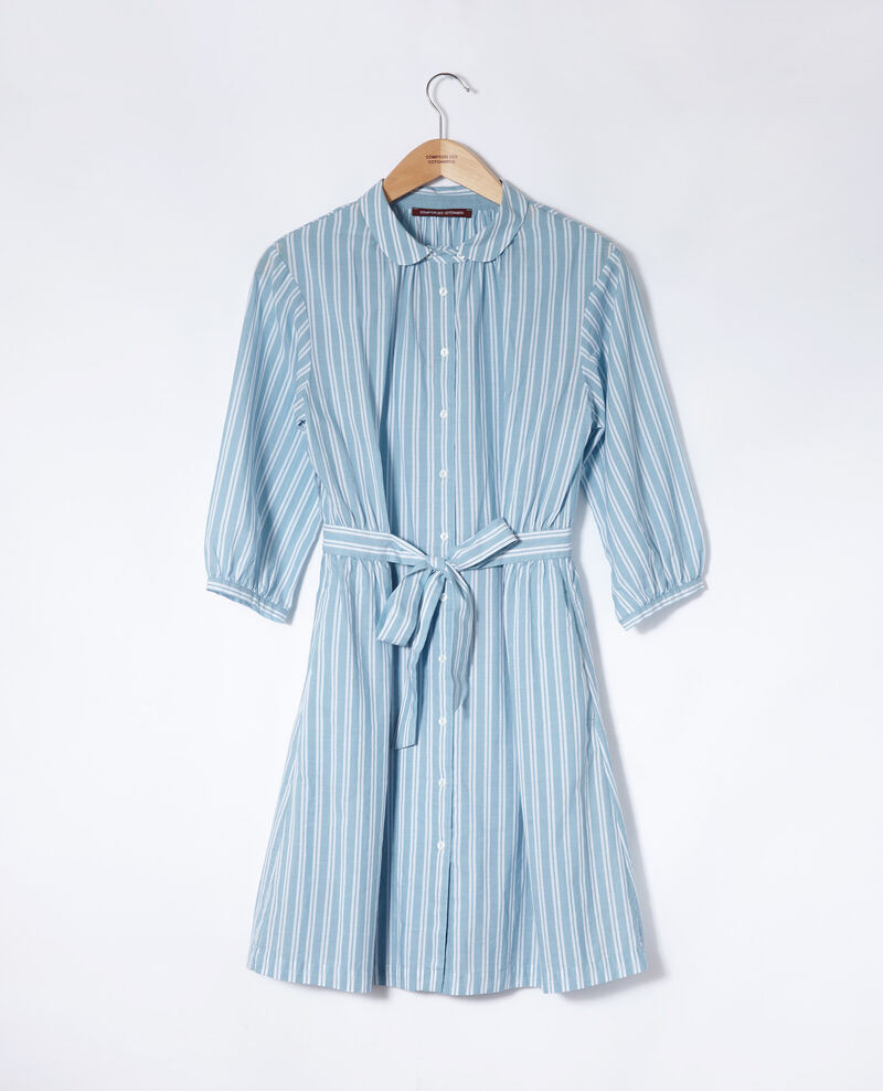 Shirt collar dress Adriatic/off white stripes Gardenia