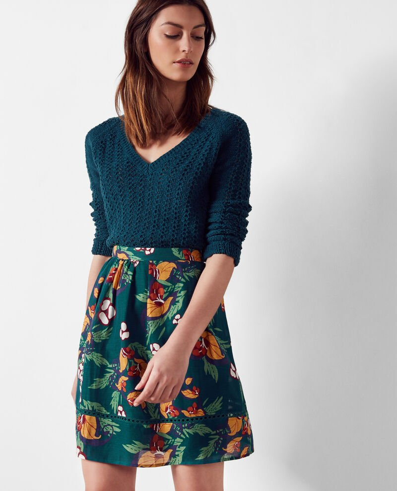 Linen and silk print skirt Tropical jungle green Cremosa