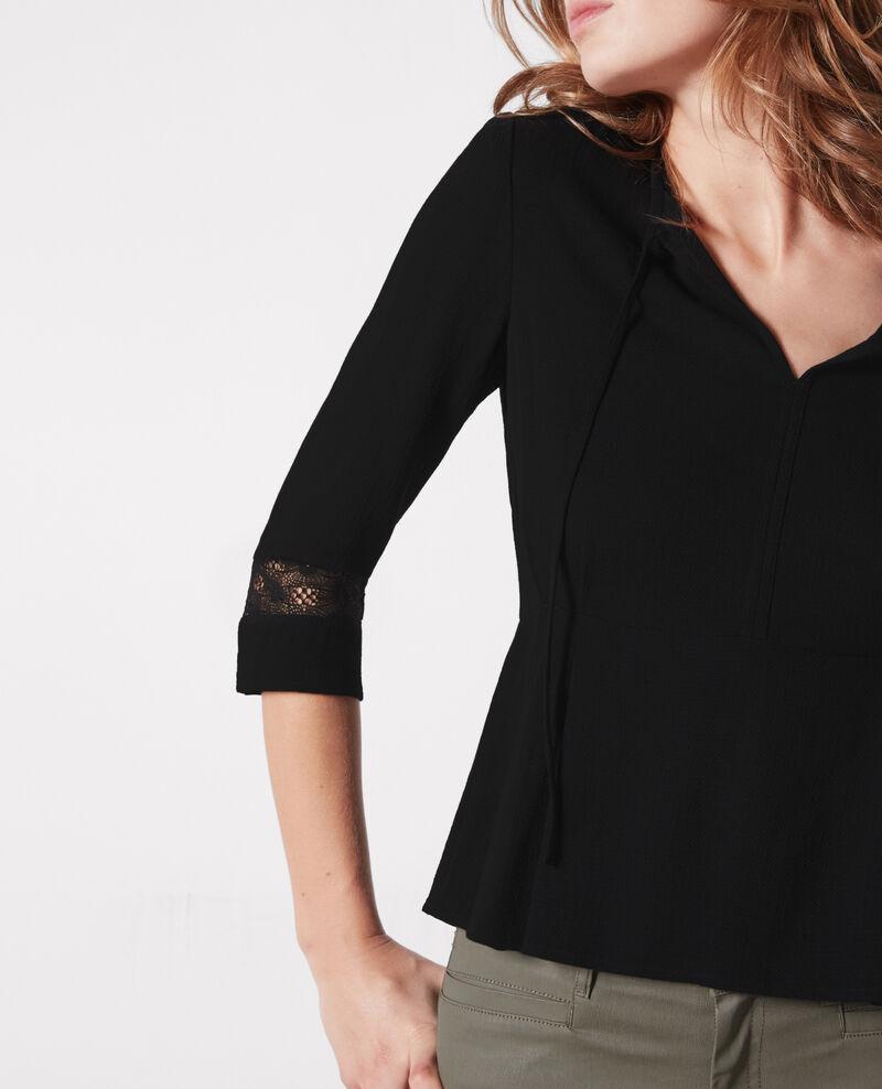 Peplum blouse with lace details Noir Castagnette