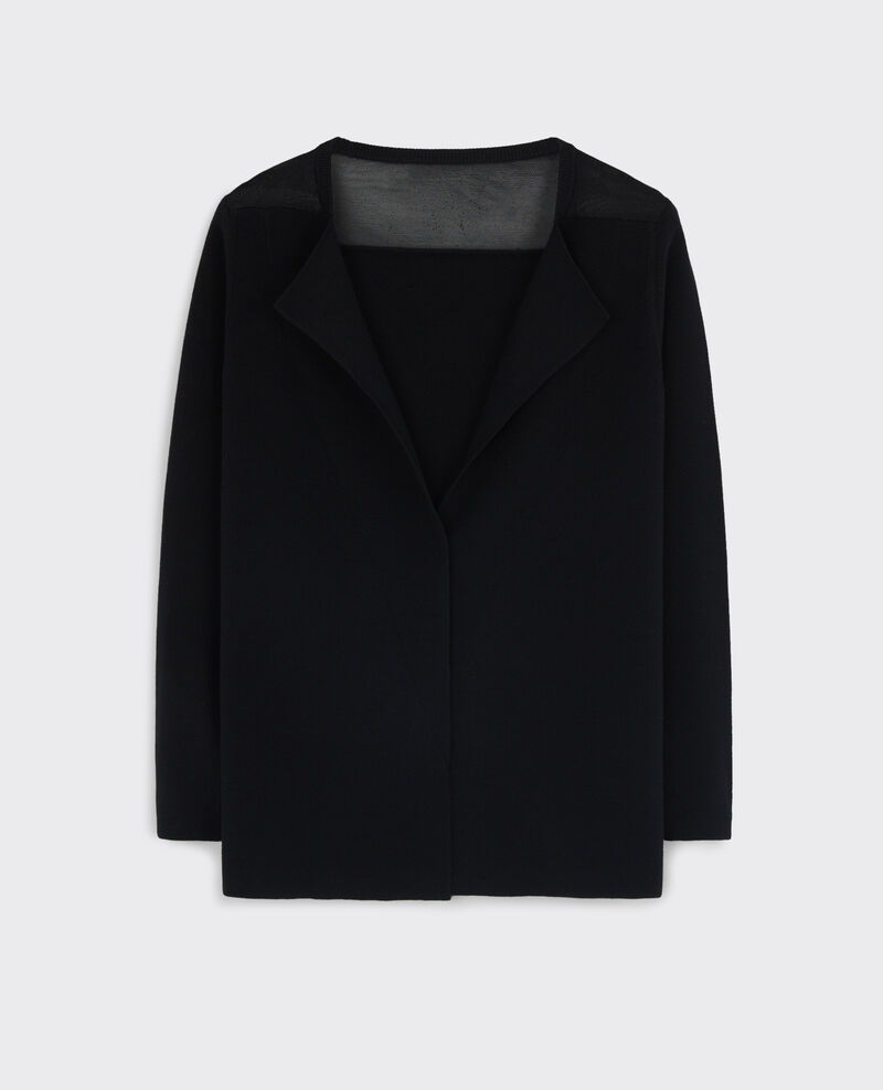 Wool cardigan with semi-transparent detail Noir Catapulte