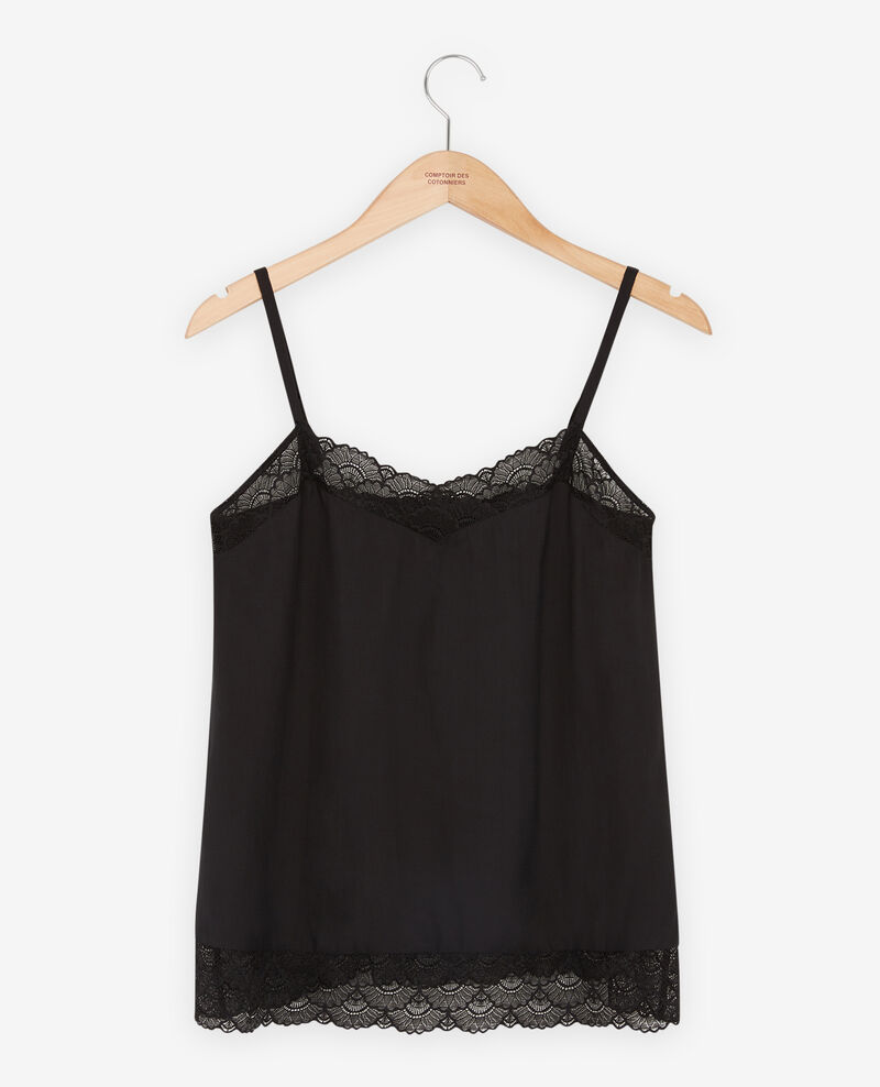 Nightie-style top with lace Noir Fanny