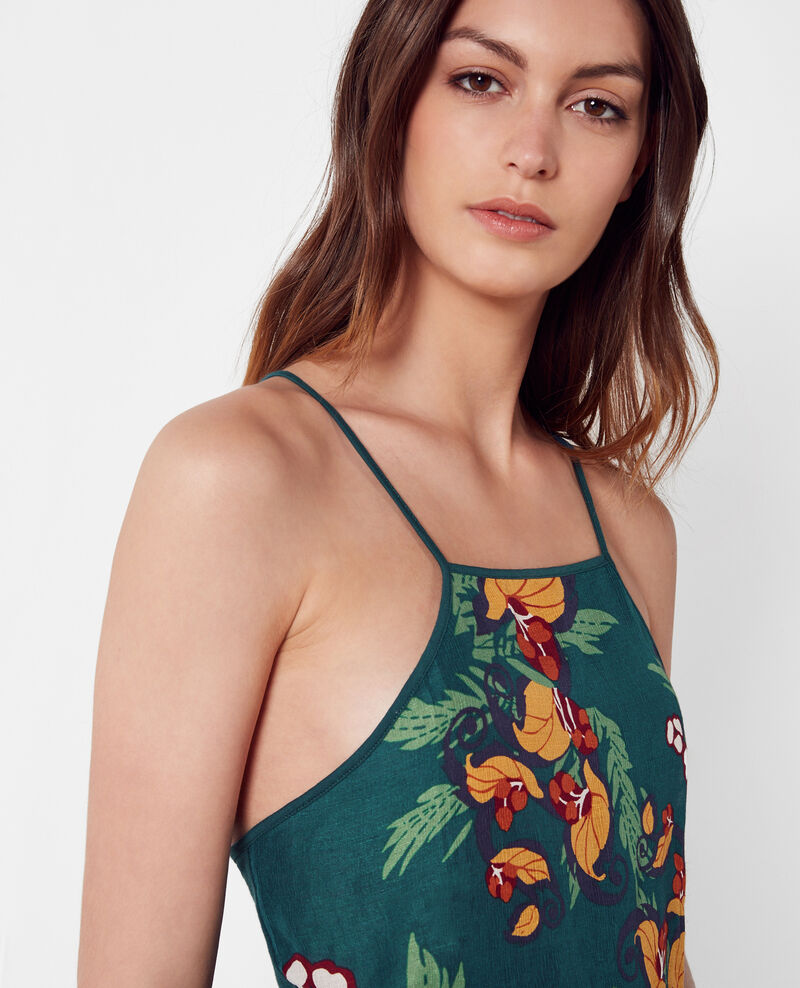 Linen and silk print tank top Tropical jungle green Cesaria