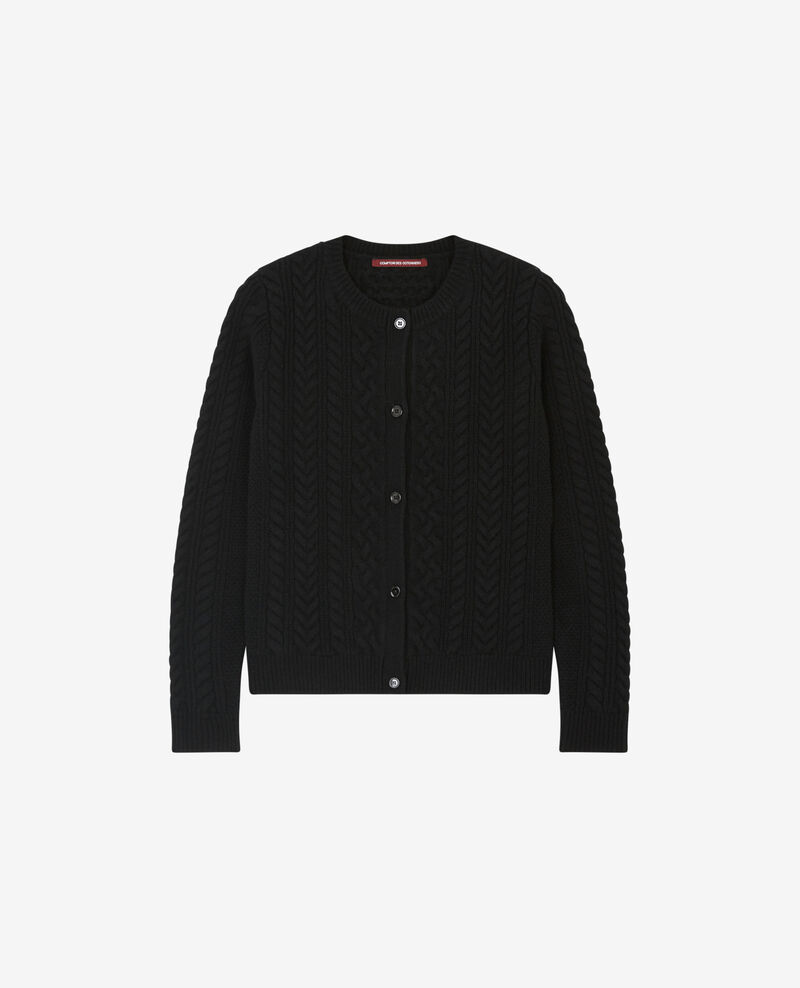 100% wool cable knit cardigan Noir Dorigan