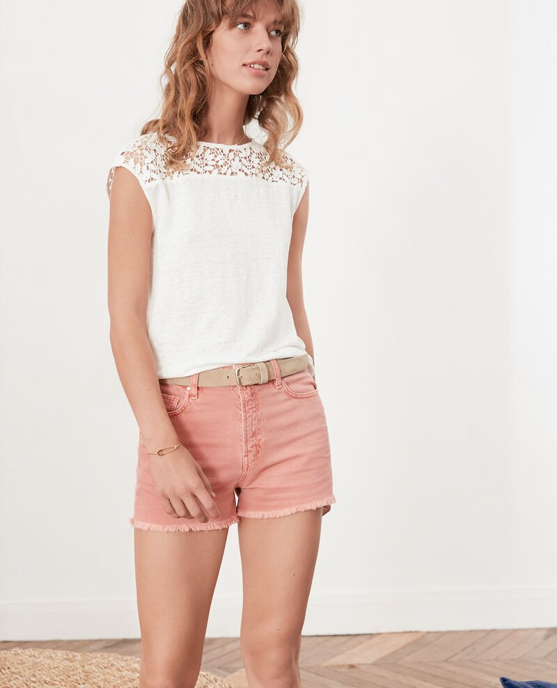 Linen t-shirt with lace back Off white Furbigo