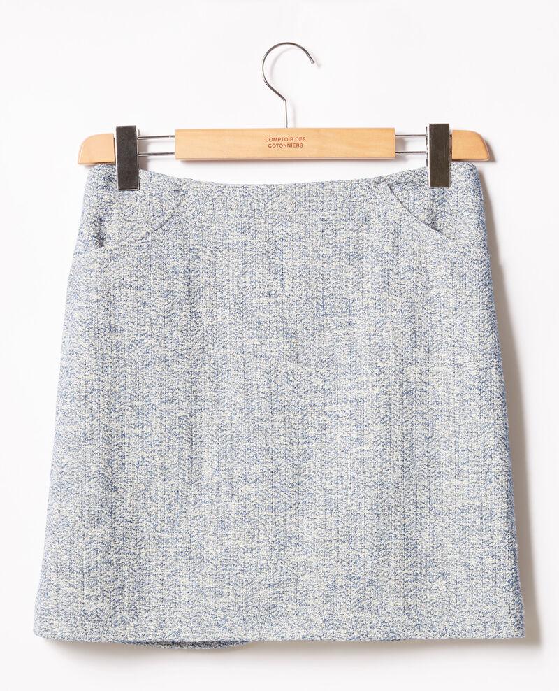 Tweed-style skirt Indigo/off white Fang