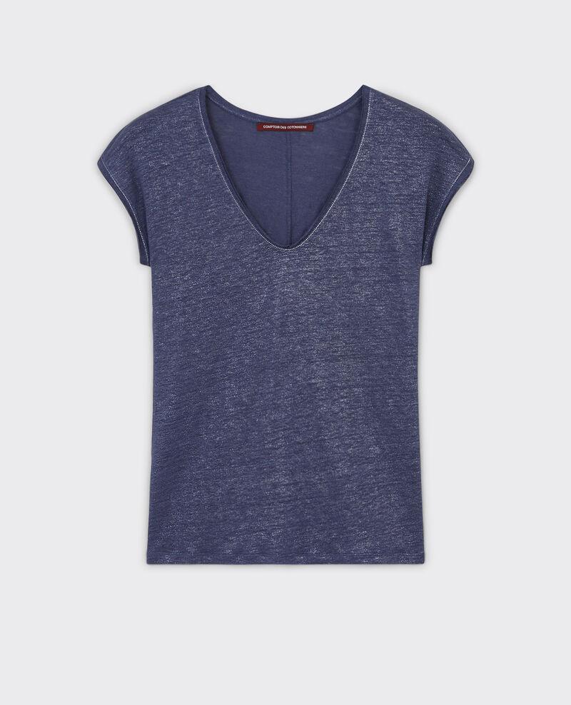 Iridescent linen t-shirt Ink blue Citron