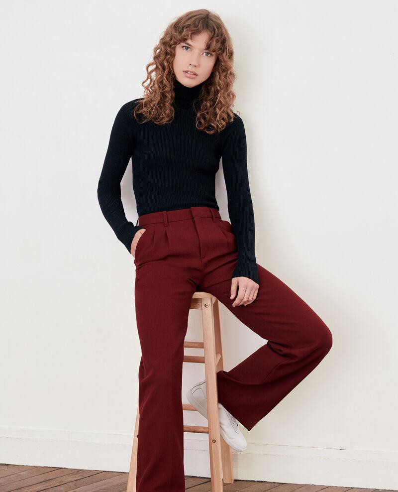 Wool blend wide trousers BURGUNDY
